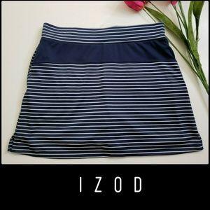 Izod Woman Stripe Stretch Skort Skirt Short Small
